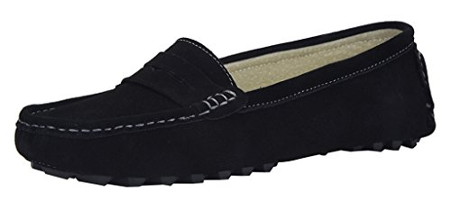 "V.J Women's Casual Driving Moccasins Penny Loafers Fashion Black Suede Leather Dress Shoes Slip On Flats 11 M US"" VJ6088A-HE110"