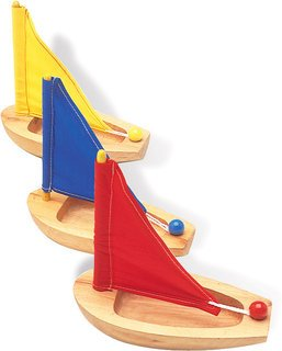 Natural Wood Sailing Boat (assorted colors)