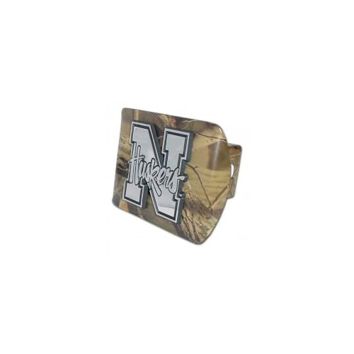 University of Nebraska Huskers Camo with Chrome Plated Metal N with Huskers Emblem NCAA College Sports Metal Trailer Hitch Cover Fits 2 Inch Auto Car Truck Receiver