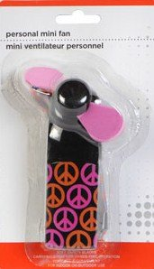 Hand Held Battery Operated Personal Mini Fan - Peace Signs