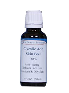 (1 oz / 30 ml) GLYCOLIC Acid 40% Skin Chemical Peel - Unbuffered - Alpha Hydroxy (AHA) For Acne, Oily Skin, Wrinkles, Blackheads, Large Pores & More (from Skin Beauty Solutions) made by Skin Beauty Solutions