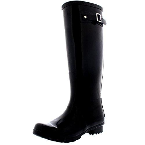 Womens Original Tall Gloss Winter Waterproof Wellie Rain Wellington Boot - Black - 8 - 39 - CD0007 (Knee High Rain Boots For Women compare prices)