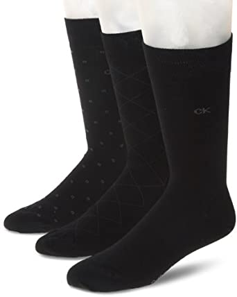 Calvin Klein Men's 3 Pack Fashion Geometric Socks, Black, 7-12