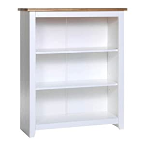 Luxury SOLID PINE WHITE BOOKCASE SMALL WIDE ONE SHELF TWO DRAWERS