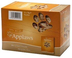 Applaws - Cibo naturale per gatti, petto di pollo e zucca, 12 x 70 g, sacchetti con cibo in umido