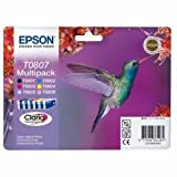 103250: Epson T0807 Claria Ink Cartridge Multi 6 Pack for Stylus Photo R265/R285/R360/RX560/RX585/RX685 (C13T08074010)