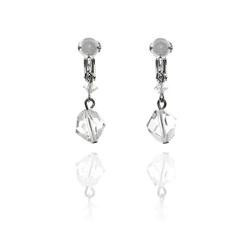 Petite Bead Drop Clip On Earrings - Clear