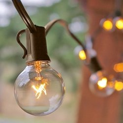 Globe String Lights, 1.5 In. Bulbs, C7, G40, 25 Ft. Brown Wire, Clear