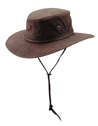 DPC Men's Oil Cloth Army Boonie Bucket Hat -Brown-Medium