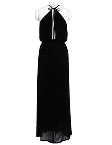 Womens Halter Open Back Empire Waist Boho Summer Party Beach Maxi Long Dress (L, Black)