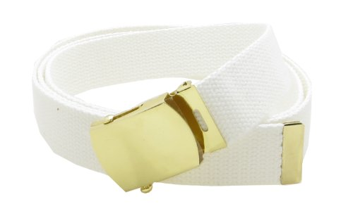 """Canvas Web Belt Military Style with Brass Buckle and Tip 54"""" Long Many Colors (White)"""