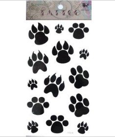 Dog Paw Footprint Tattoo Stickers Temporary Tattoos Fake Tattoos 3pcs/lot 17.8cm X 10cm - 1