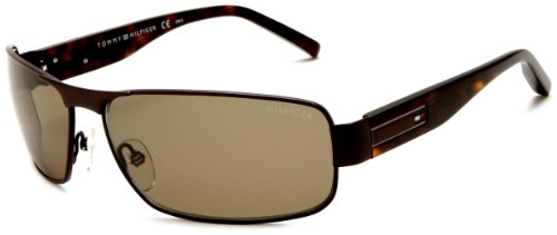 Tommy Hilfiger Men's 1009/S 0U0J Polarized Aviator Sunglasses,Matt Brown & Dark Havana Frame/Brown Lens,One Size
