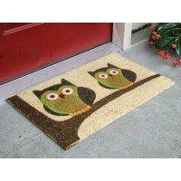 Kempf Vinyl Backed Natural Coco Doormat, Twin, Owl Imprint