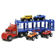 New Bright 22 inch Carrier with Vehicles and Accessories - Assorted Color Cabs by New Bright