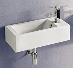 ELANTI EC9899-L Porcelain White Wall-Mounted Rectangle Left-Facing Sink