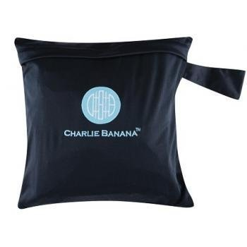 Charlie Banana Washable Diaper Tote Wet Bag (Black w/Blue) by Charlie Banana (English Manual)