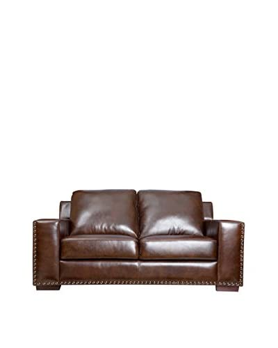 Abbyson Living Beverly Hand Rubbed Leather Loveseat, Espresso Brown