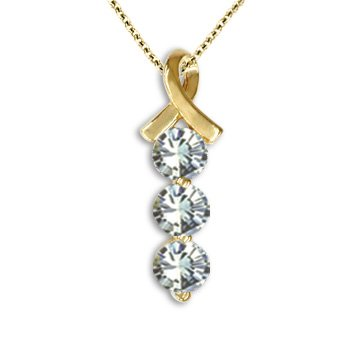 1.00 CT Diamond Three Stone I1 Ribbon Pendant 14K Yellow Gold / White Gold Chain