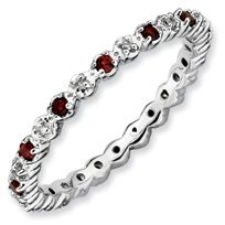 0.32ct Silver Stackable Garnet & Diamond Ring Band. Sizes 5-10 Available