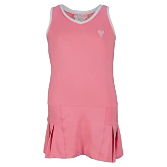 Buy Girls` Tennis Dress Pink With White Trim by Little Miss Tennis