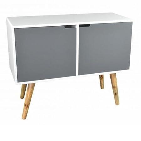 Mueble TV Vintage 2puertas 1hueco bambú-l.90X l.38X H.70cm