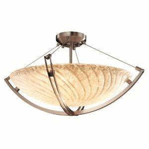 Justice Design GLA-9722-35-GLDC-MBLK Veneto Luce - Six Light Bowl Pendant with Crossbar, Glass Options: GLDC: Gold with Clear Rim Glass Shade, Choose Finish: Matte Black Finish, Choose Lamping Option: Standard Lamping