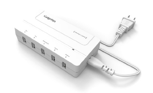 Gadgetsys® Premium 31W 6.2A 5-Port Universal Usb Wall Charger - Portable Multiple Rapid Family-Sized Desktop Charging Station With External Detachable Power Cord - Compact Lightweight All-In-One Full Speed Fast Charging For Simultaneously Five 5V Powered