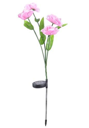 Powered Led Yard Light Camellia Solar Flower Garden Stake Lamp Garden Light Pink