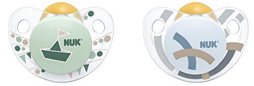 NUK 10171084 Trendline Latex-Schnuller, Größe 1, 0-6 Monate, kiefergerechte Form, BPA frei, 2 Stück, Boy