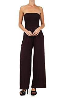 Kiwi Co. Alexa Solid Strapless Jumpsuit Chocolate Large