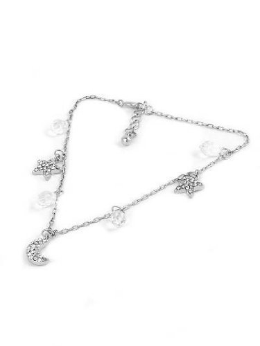 Moon Star & Droplet Silver Tone Diamante Anklet Ankle Bracelet