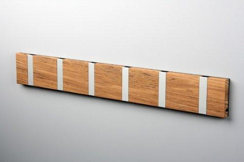 Knax-Garderobe-Waagerecht-Teak-Gelt-6-Haken-Grau