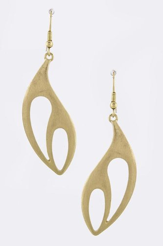 Karmas Canvas Pierced Teardrop Dangle Earrings (Matted Gold)