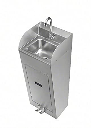 Just A544912-2EP2V T-304 Handwash Sink with 20 Gauge Bowl 18 Gauge Pedestal with Panel, Foot Pedal and Spout