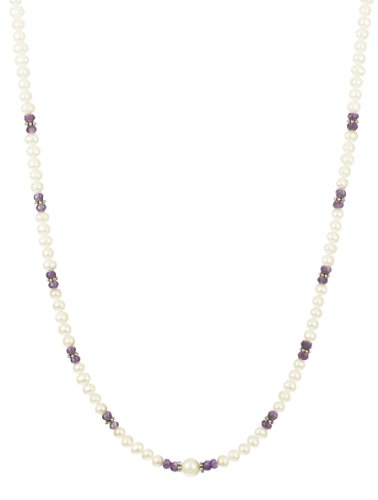 Amethyst and Sterling Silver Accents with White Potato Freshwater Pearl Necklace, 16