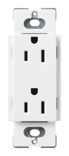 Lutron SCR-15-SW Satin Colors 15A Electrical Socket Duplex Receptacle with Cover, Snow