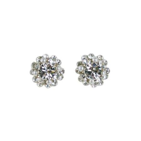 Flower Shaped Swarovski Rhinestone and Pearl Stud Bridal Earrings