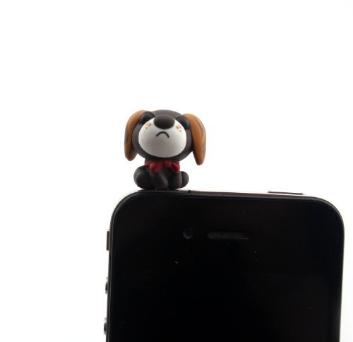 Nine States Hard Plastic Lovely Cartoon Chihuahua 3.5Mm Headphone Jack Anti Dust Plug Ear Cap For Iphone 5 5S 5C Iphone4,4S,Ipad ,Ipod Touch ,Samsung Galaxy S3 S4 Note 3 Note2,Blackberry And Other Cellphone (Grey)