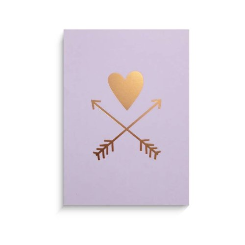 "Lucy Darling Gold Heart and Arrows Wall Decor, Lavender Print, 8"" x 10"""