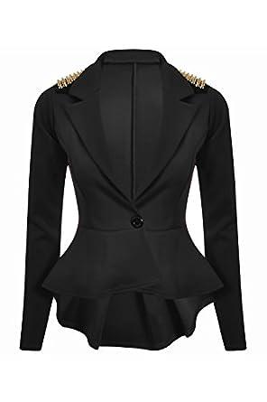 New Womens Ladies Long Sleeves Spikes Peplum One Button Jacket Coat Blazer Top