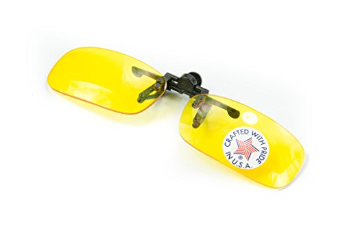 Polycarbonate Clip-on Flip-up Canary Yellow Enhancing Driving Glasses - True Rec - 51mm Wide X 29mm High (113mm Wide)