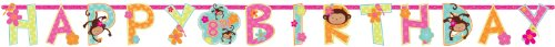 Amscan Sweet Monkey Love Customizable Add-an-Age Jumbo Party Letter Banner (1 Piece), Pink/Yellow/Orange/Blue, 105'