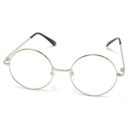 PARISKID'S_■ 伊達メガネ メタル ラウンド ダテメガネ 伊達眼鏡 UVカット【シルバー】_通販_Amazon|アマゾン