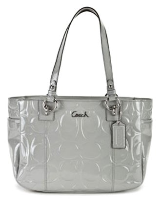 coach patent embossed signature gallery book bag purse tote 17728 gray handbags