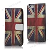 Retro Phone Co® -iPhone 5/5S Retro Style Union Jack PU Leather Executive Leather Case/ Wallet/Cover With A Polycarbonate Hard Shell Interior For Greater Protection With Money Credit Card Holder