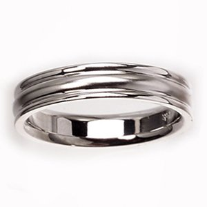 Men's 14k White Gold Classic Comfort-Fit Wedding Band (4.00 mm)