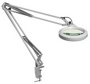 """Luxo Lfm Led Magnifier, Grey, 30"""" Arm, 5-Diopter, Edge Clamp"""
