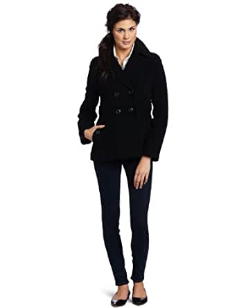 Kenneth Cole New York Women's Short Double Breasted Wool Peacoat, Black, 2