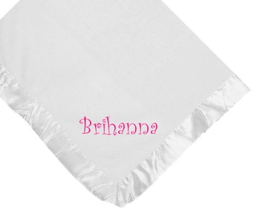 Custom Embroidered Monogrammed Girl Name White Fleece Personalized Baby Blanket Yellow Thread front-409032